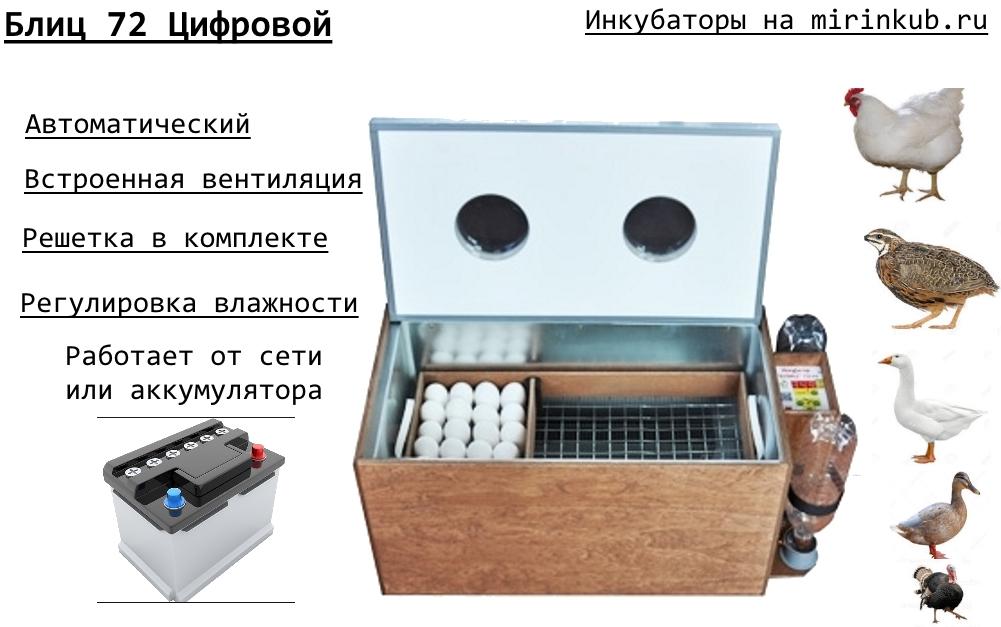 Инкубатор Блиц 72 цифровой фото